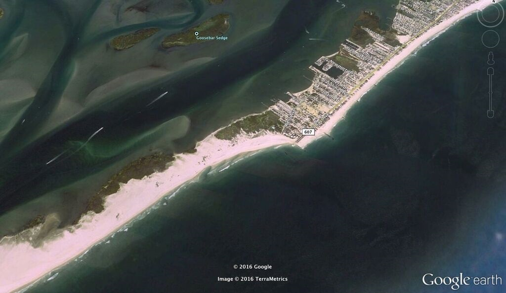 satellite shot of LBI, forsythe, barrier islands, beach erosion, replenishment