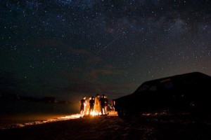 Perseid Meteor shower at the beach.