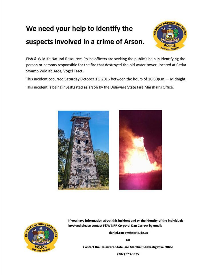 Dnrec seeks public 39 s help with arson case delaware surf for Dnrec fishing report