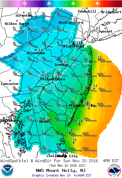 wind map, nws, national weather service, delaware, mount holly, delmarva, delaware bay, new jersey, cape may,