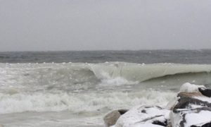 ice in waves, delaware, cape henlopen state park, susssex county