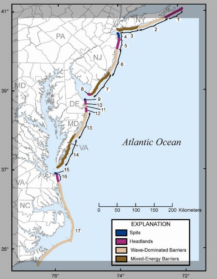 Map of the mid-Atlantic coast of the United States, landform types, barrier islands, delaware, delmarva, maryland, delaware bay, chesapeake bay, beach erosion, replenishment