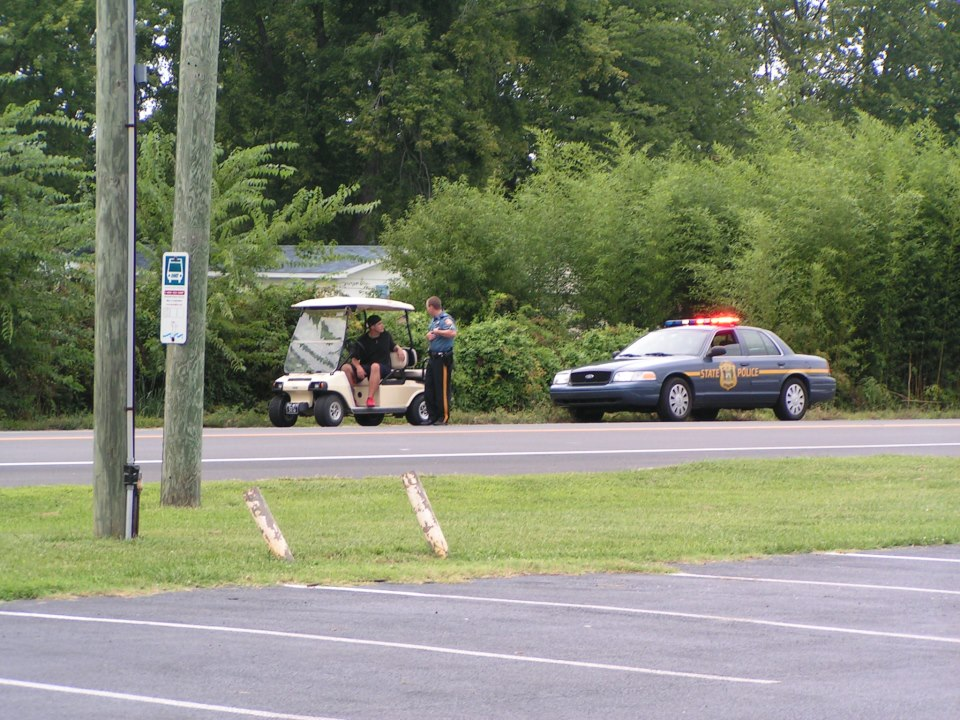 golf carts are illegal on the road, long neck road, delaware, sussex county