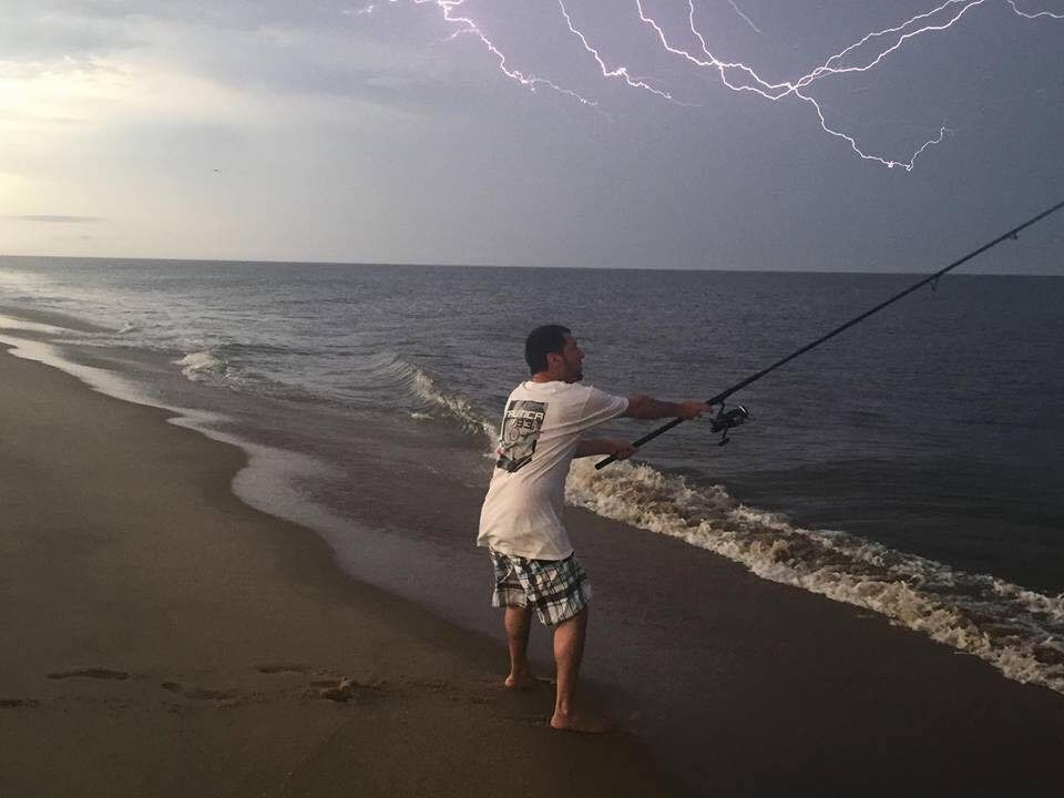 lightening while fishing, one last cast, electric eel fishing in an electrical storm, electric catfish, delaware, sussexcounty, maryland, ocean city, fishing for electric eels in an electrical storm