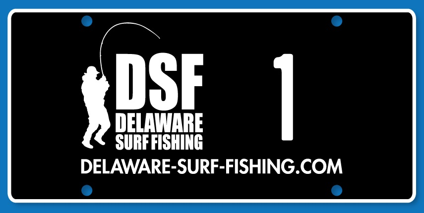 Delaware Surf Fishing vanity license plate, sussex county, numbered tags, delaware