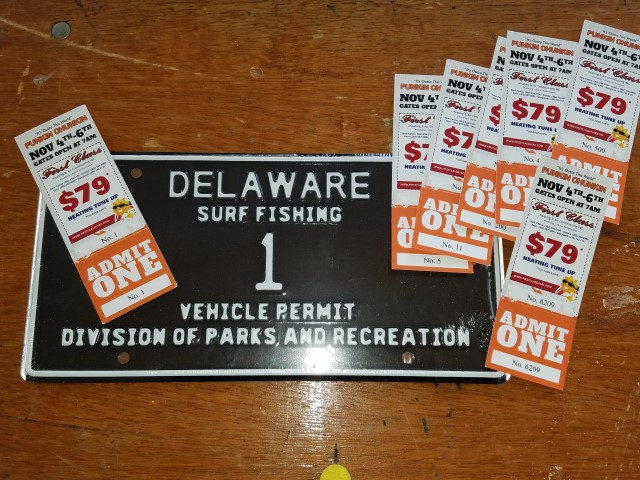wcpca, low digiti tags, punkin chunkin tickets, delaware state parks, delaware surf fishing low digit tag