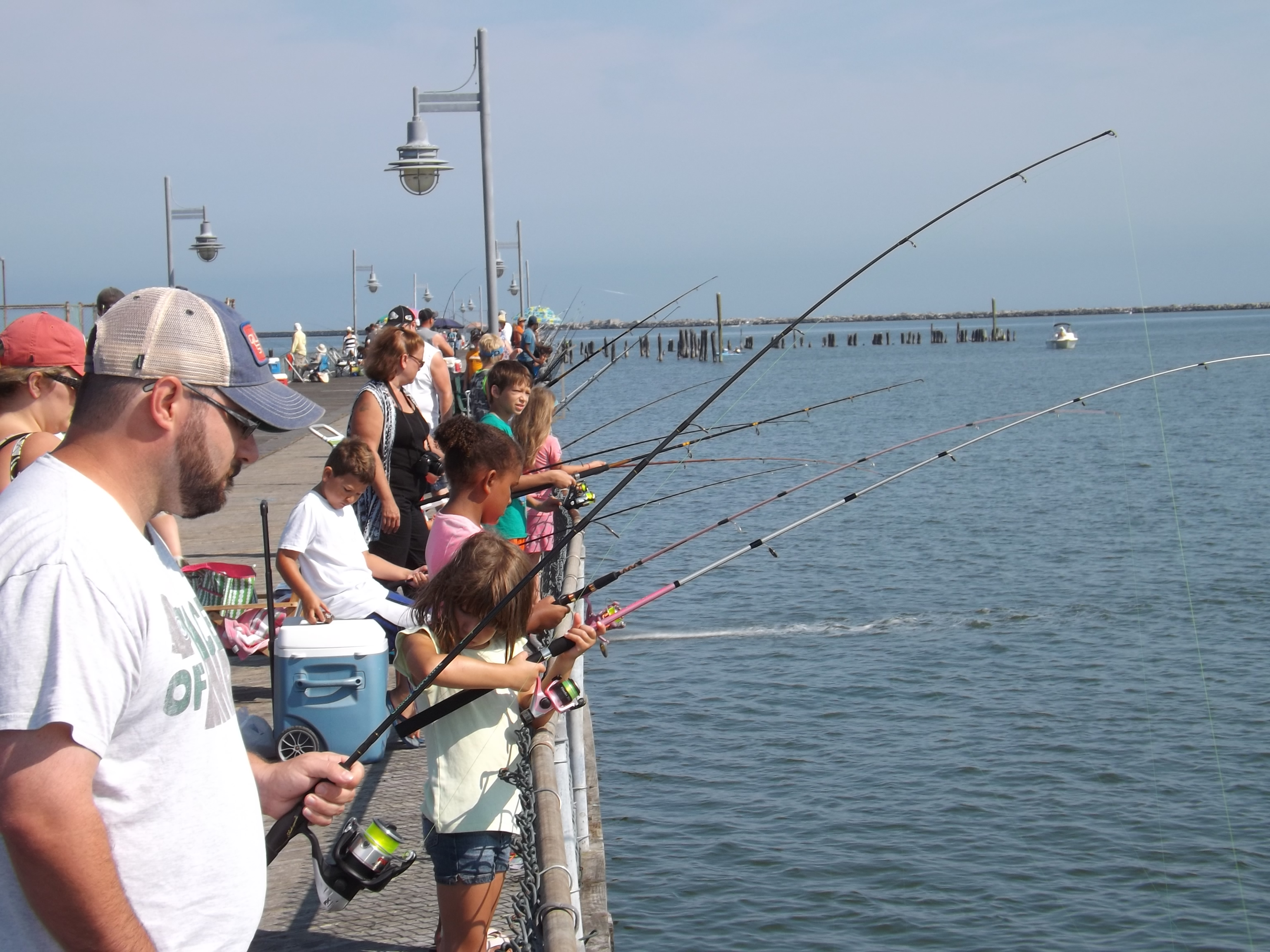Kids fishing Cape Henlopen State Park fishing pier, delaware, sussex county, lewes, delaware bay, harbor of safe refuge, cape may lewes ferry